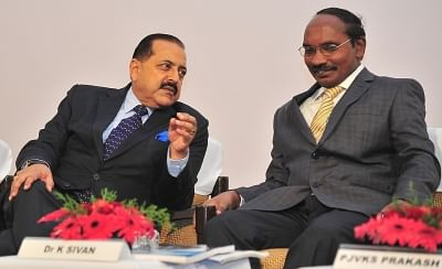 Union MoS Space Jitendra Singh and ISRO Chairman K Sivan at an event in Bengaluru.