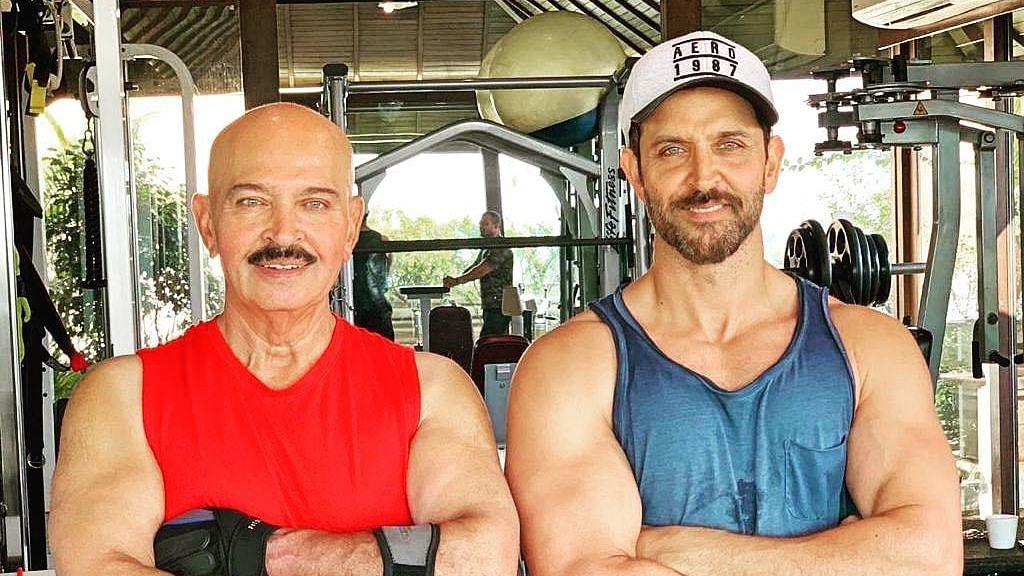 Rakesh Roshan and Hrithik Roshan at the gym.