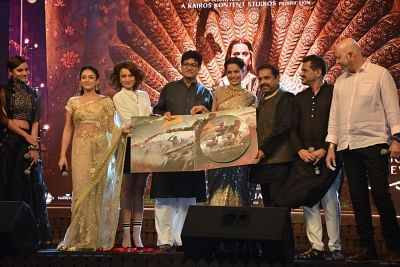 "Mumbai: Actresss Kangana Ranaut,Ankita Lokhande,CBFC chief Prasoon Joshi and Shankar-Ehsaan-Loy at the music launch of her upcoming film ""Manikarnika: The Queen Of Jhansi"" in Mumbai on Jan 9, 2019. (Photo: IANS)"