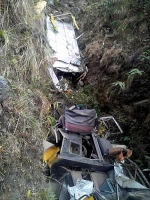 Sirmaur: Mangled remains of the bus that skidded off the road and rolled into a gorge, killing seven persons including six school students, in Himachal Pradesh