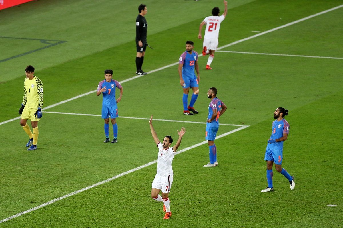 The teams cut contrasting figures after UAE find the net for the second time in their AFC Asian Cup Group A tie against India.