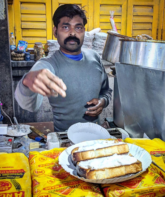 Malai toast near Calcutta Stock Exchange.