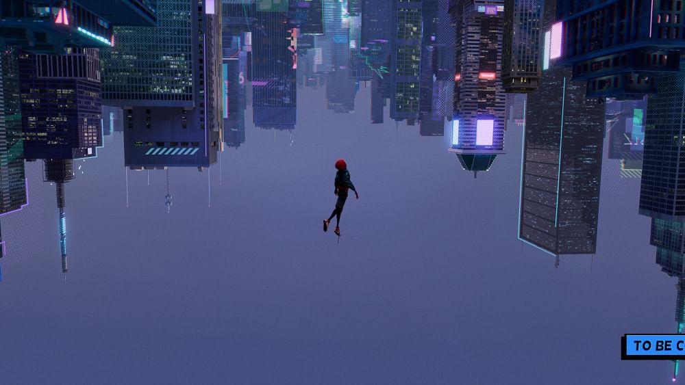 Miles Morales jumping off a skyscraper