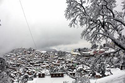 Shimla: A view of the snow-covered Shimla after heavy snowfall, on Jan 22, 2019. (Photo: IANS)