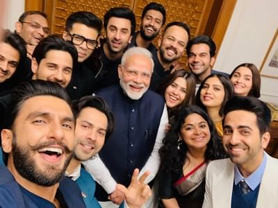 Filmmaker Ekta Kapoor, Karan Johar, Ashwiny Iyer Tiwari and Rohit Shetty along with actors Ranveer Singh, Bhumi Pednekar, Sidharth Malhotra, Ayushmann Khurrana, Alia Bhatt, Ranbir Kapoor, Vicky Kaushal, Rajkummar Rao and Varun Dhawan meet Prime Minister Narendra Modi in New Delhi on Jan 10, 2019.