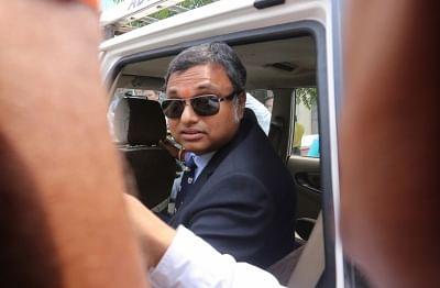 New Delhi: Karti Chidambaram, son of former Finance Minister P. Chidambaram arrives to appear for questioning before the CBI in a matter related to alleged irregularities in FIPB clearance to INX Media in 2007 at CBI headquarters in New Delhi on Aug 23, 2017. (Photo: IANS)