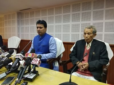 Agartala: Tripura Chief Minister Biplab Deb addresses a press conference in Agartala Jan 10, 2019. Also seen Revenue Minister NC Debbarma (Photo: IANS)