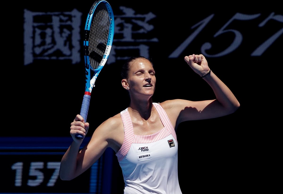 Karolina Pliskova of the Czech Republic celebrates after defeating United States' Serena Williams in their quarter-final match at the Australian Open.