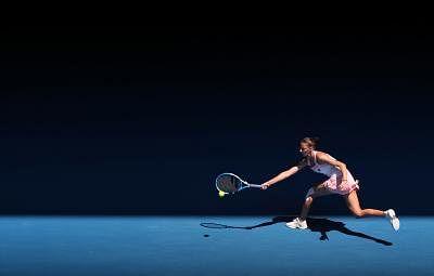 MELBOURNE, Jan. 23, 2019 (Xinhua) -- Karolina Pliskova returns a shot during the women