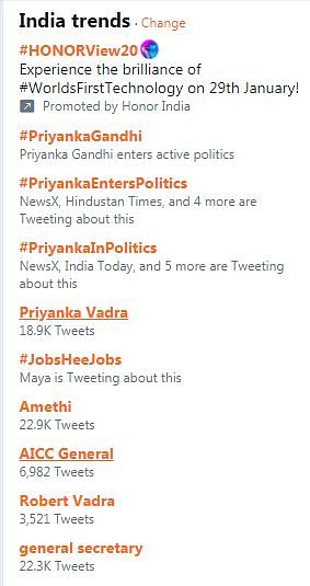 Priyanka Gandhi ruled the Twitter trends through the day.