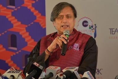 Jaipur: Congress MP Shashi Tharoor addresses during the 12th edition of Jaipur Literature Festival on Jan 25, 2019. (Photo: Shaukat Ahmed/IANS)