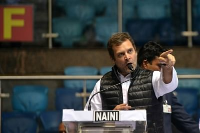 New Delhi:Congress President Rahul Gandhi addresses during a party programme in New Delhi on Jan 30, 2019. (Photo: IANS)