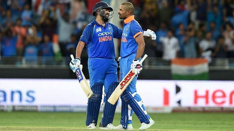 File picture of Rohit Sharma and Shikhar Dhawan during a 200-run stand against Pakistan at the Asia Cup 2018.