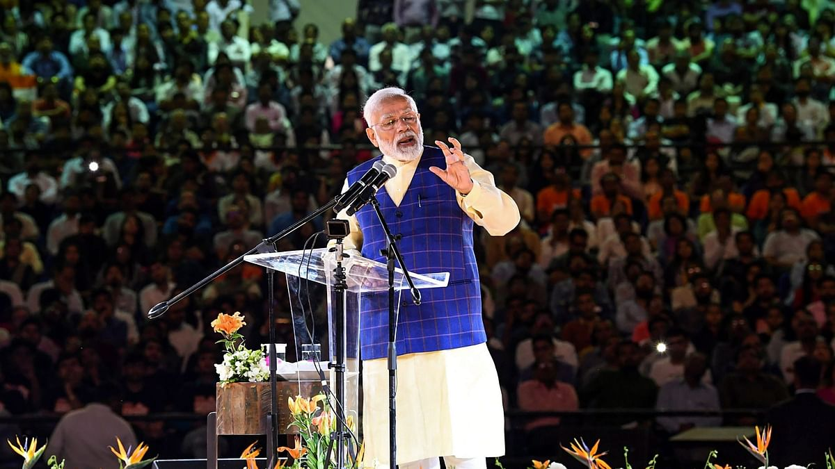 PM Narendra Modi speaking at a youth conclave in Surat on Wednesday, 30 January.