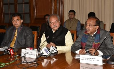 New Delhi: Union Parliamentary Affairs Minister Narendra Singh Tomar addresses a press conference on the conclusion of the Winter Session of Parliament, in New Delhi, on Jan 10, 2019. Also seen Union MoS Parliamentary Affairs Vijay Goel. (Photo: IANS/PIB)