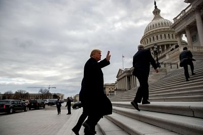 WASHINGTON, Jan. 9, 2019 (Xinhua) -- U.S. President Donald Trump (Front) arrives at the Capitol for a Senate Republican Policy lunch in Washington D.C., the United States, on Jan. 9, 2019. (Xinhua/Ting Shen/IANS)