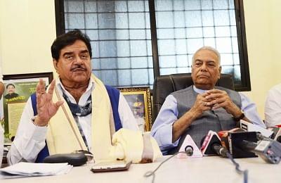 Actor turned politician Shatrughan Sinha with former BJP leader Yashwant Sinha. (Photo: IANS)