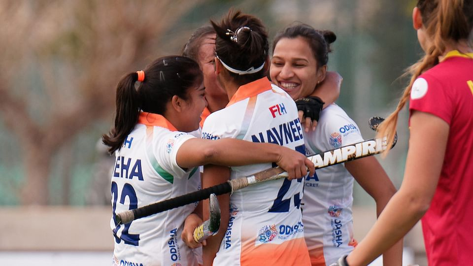 The Indian women's hockey team beat Spain  5-2 in their third match of the tour on Tuesday.