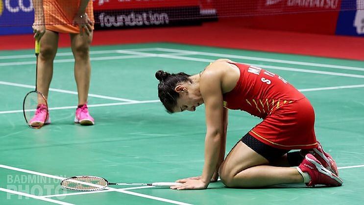 After a medical time out, Marin tried to continue but eventually collapsed to the ground crying.