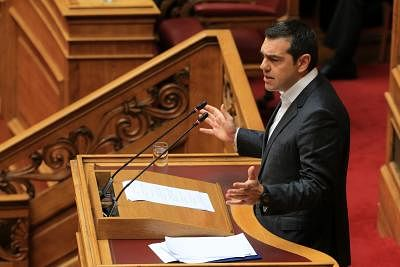 ATHENS, Jan. 15, 2019 (Xinhua) -- Greek Prime Minister Alexis Tsipras speaks during a parliamentary session on confidence vote in Athens, Greece, Jan. 15, 2019. Greek Prime Minister Alexis Tsipras announced to seek a confidence vote in his government in the parliament on Wednesday after the junior party