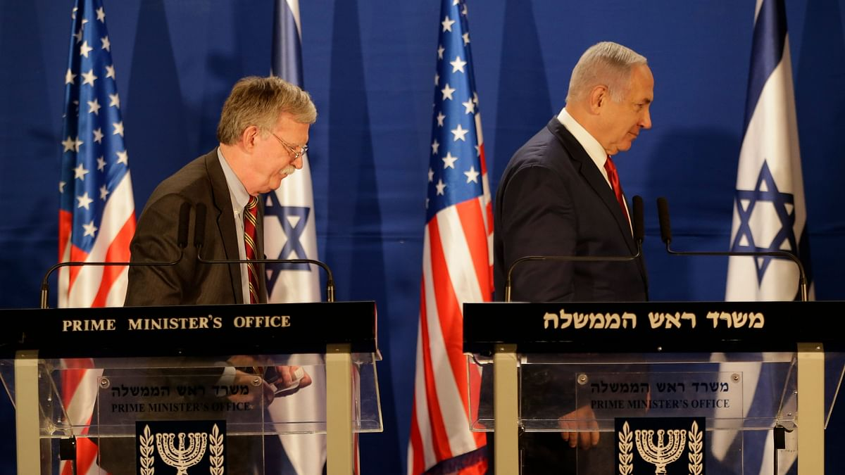 Israeli Prime Minister Benjamin Netanyahu (right) and US National Security Advisor John Bolton, leave the stage after their statement to the media follow their meeting, in Jerusalem on 7 January, 2019.