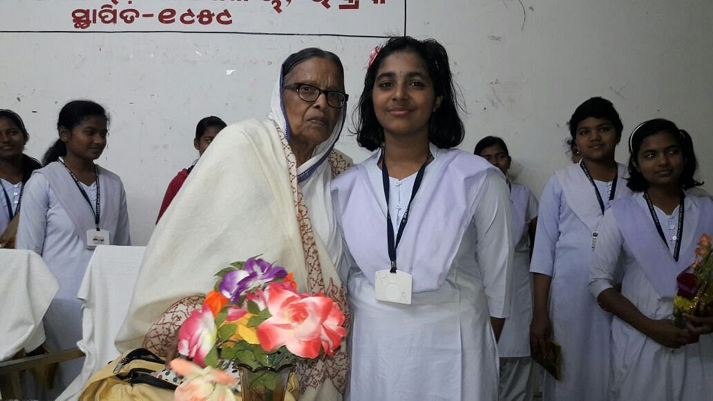 Baidehi Panda with her great granddaughter in Odisha.