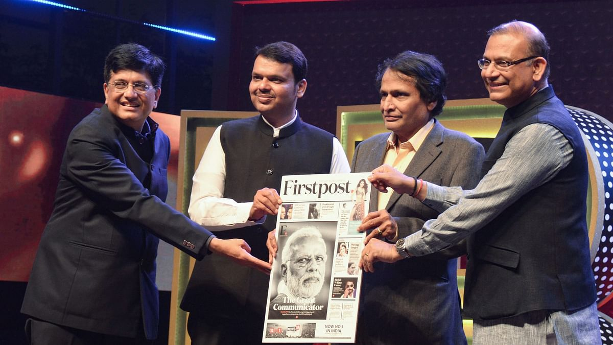 Union Minister Piyush Goyal (L), Suresh Prabhu and Jayant Sinha (R) with Maharashtra Chief Minister Devendra Fadnavis during the CNBC-TV 18 India Business Leader Awards, in Mumbai on 17 January.