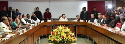 New Delhi: Lok Sabha Speaker Sumitra Mahajan chairs an all-party meeting at Parliament House in New Delhi, on Jan 30, 2019. Also seen Union Ministers and BJP leaders Narendra Singh Tomar, Arjun Ram Meghwal, Vijay Goel and Congress leader Mallikarjun Kharge. (Photo: IANS/PIB)