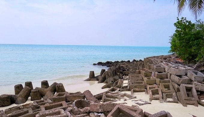 The use of concrete tetrapods is a futile attempt to stem beach erosion in the islands of Lakshadweep