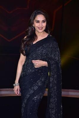 "Mumbai: Actress Madhuri Dixit Nene on the sets of reality television show ""Dance +"", in Mumbai on Jan 8, 2019. (Photo: IANS)"