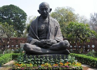 Mahatma Gandhi statue in the Parliament premises. (File Photo: IANS)