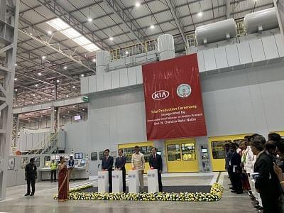 Andhra Pradesh Chief Minister N. Chandrababu Naidu, South Korean Ambassador Shin Bongkil, Kia Motors Corp President and CEO Han-Woo Park and Kia Motors India MD and CEO Kookhyun Shim during trial production ceremony at Anantapur plant of Kia Motors in Andhra Pradesh on Jan 29, 2019. (Photo: IANS)