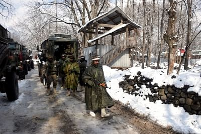 Pulwama: Security forces during cordon and search operations in Aripal village in Tral area after a gunfight erupted between the security forces and holed-up militants in Jammu and Kashmir