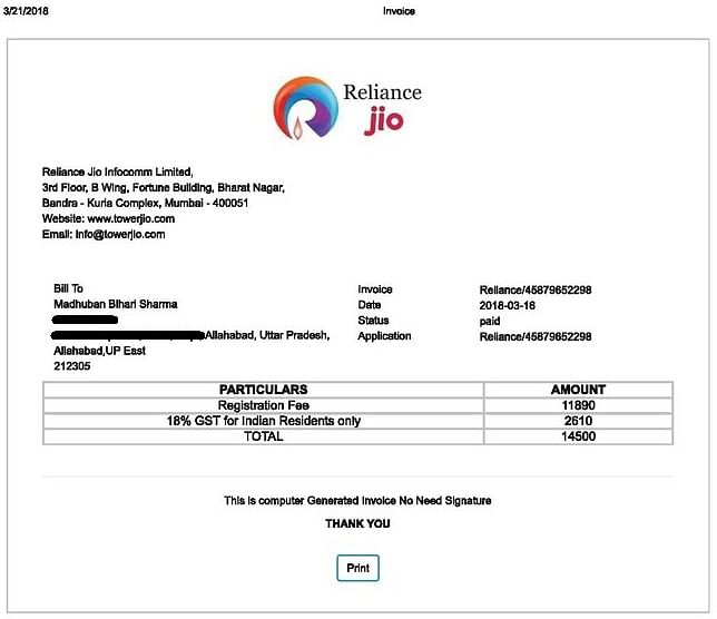 A fake Jio invoice of the payment made by Madhuban Bihari Sharma, one of the victims.