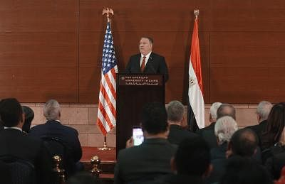 "CAIRO, Jan. 11, 2019 (Xinhua) -- U.S. Secretary of State Mike Pompeo delivers a speech at the American University in Cairo, Egypt, Jan. 10, 2019. Pompeo said on Thursday that the United States will ""use diplomacy"" and work with partners to curb Iran"