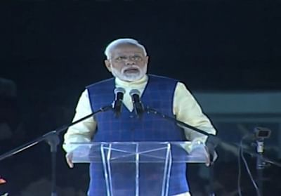 Surat (Gujarat): Prime Minister Narendra Modi addresses during the New India Youth Conclave 2019 in Surat, Gujarat on Jan 30, 2019. (Photo: IANS)