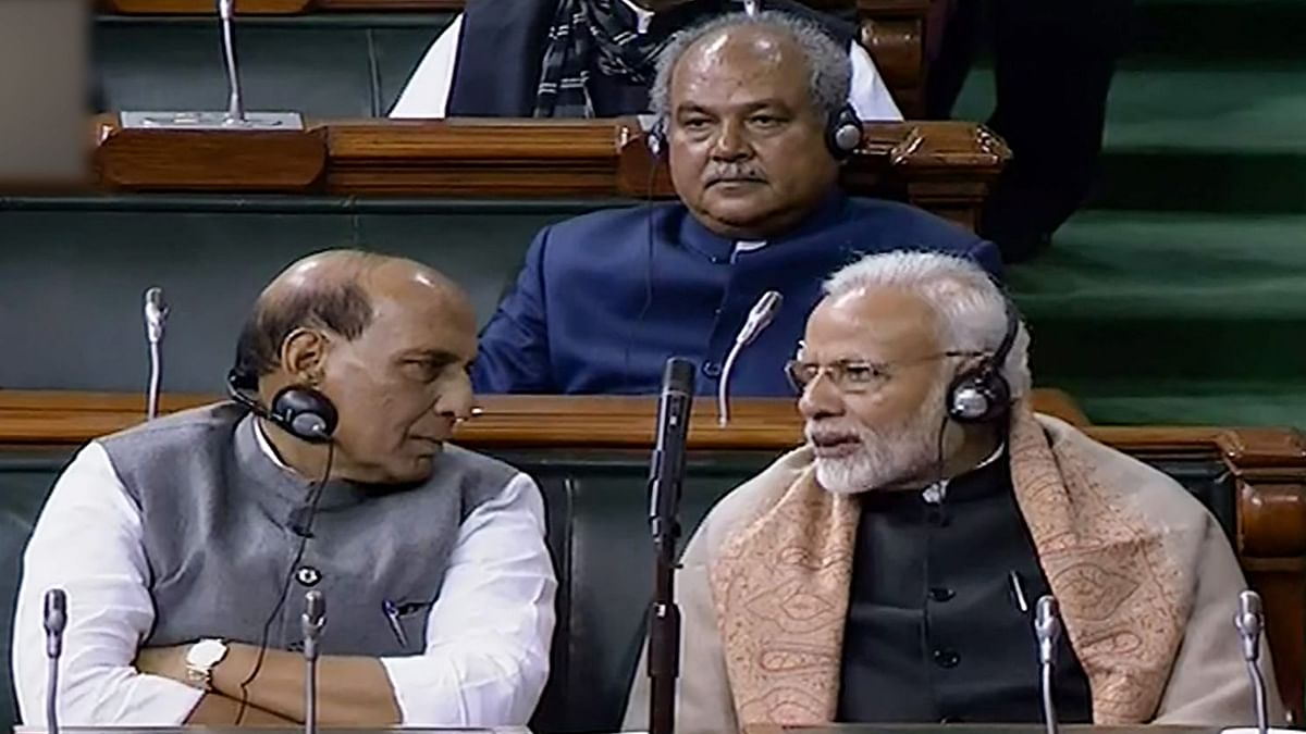 PM Narendra Modi and Home Minister Rajnath Singh during winter session.