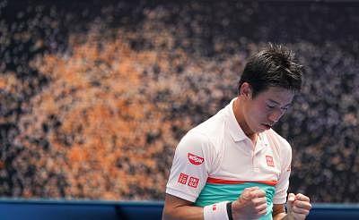 MELBOURNE, Jan. 17, 2019 (Xinhua) -- Kei Nishikori of Japan reacts during the men