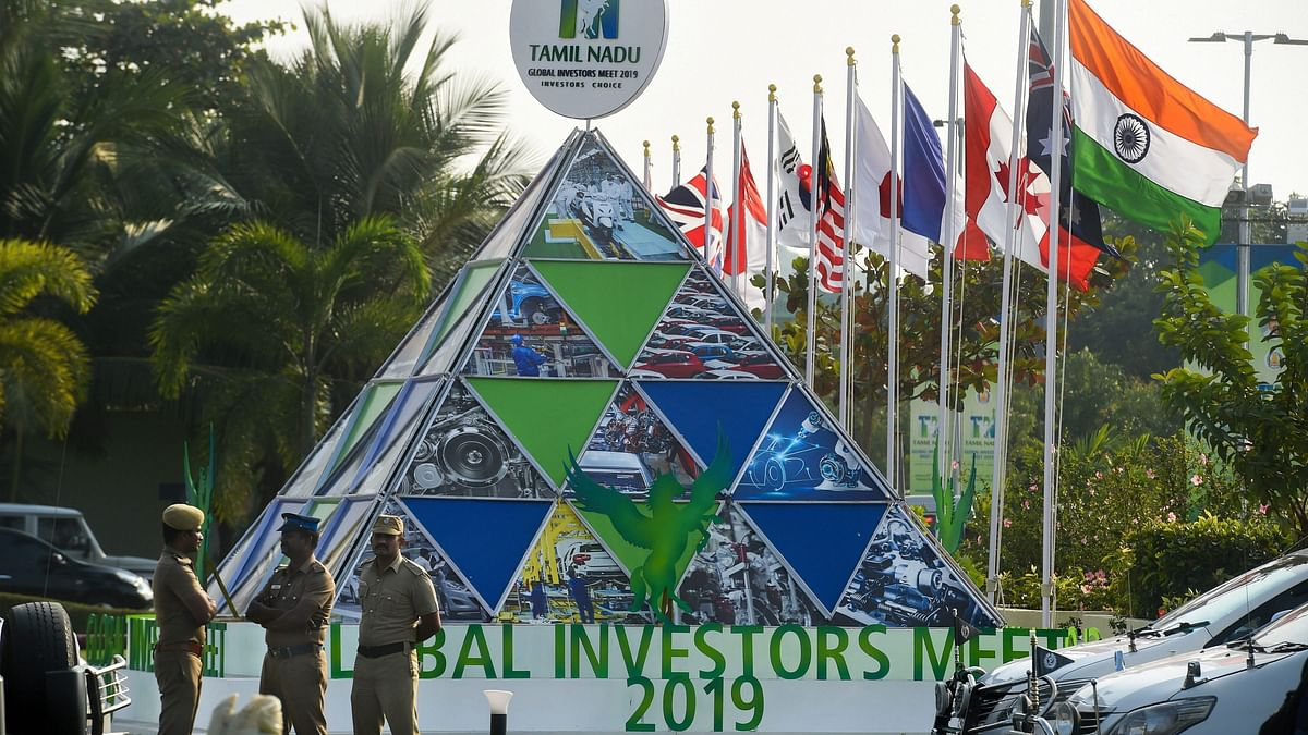 The venue of the second edition of the Global Investors Meet (GIM) 2019 at the Trade Centre in Chennai on 22 January.