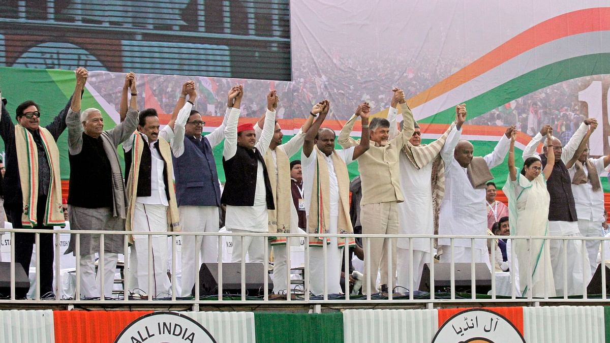 Opposition parties join hands during a public rally organised by Trinamool Congress party in Kolkata on 19 January.