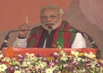 Baripada: Prime Minister Narendra Modi addresses during a public meeting in Odisha