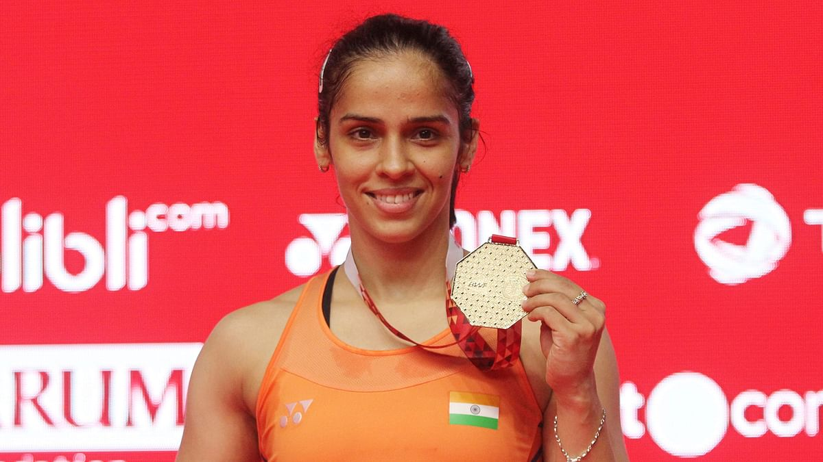 Saina Nehwal was trailing 4-10 in the opening game when Marin decided to withdraw from the contest.
