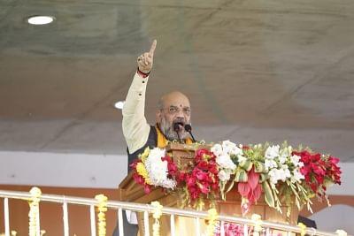 Agartala: BJP chief Amit Shah addresses during a public rally in Agartala, on Jan 5, 2019. (Photo: IANS)