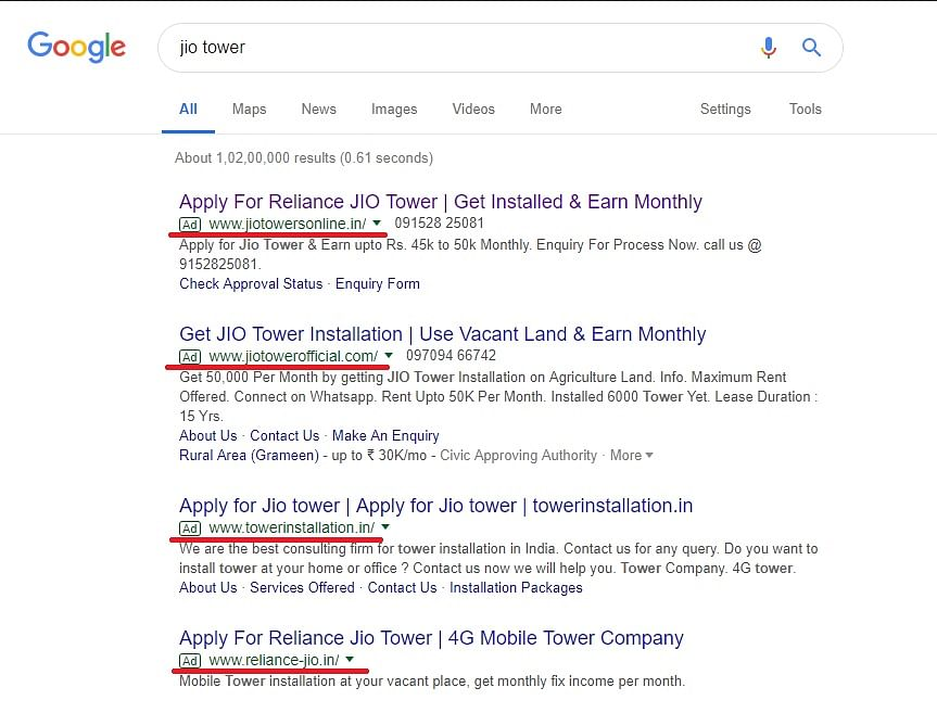 """A Google search """"Jio tower"""" returns a litany of fraudulent websites, the first four of which are ads."""