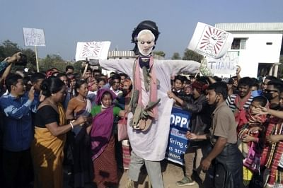 Khumulwng: Members of various tribal parties of Tripura stage a demonstration against police firing on people protesting against the Citizenship (Amendment) Bill, in Khumulwng, on Jan 30, 2019. Some tribal youths while demonstrating against the Citizenship (Amendment) Bill turned violent at Madhab Bari in western Tripura on January 8. The police, Tripura State Rifles and CRPF troopers, after taking all necessary steps were unable to control the mob. The police then opened fire injuring six triba