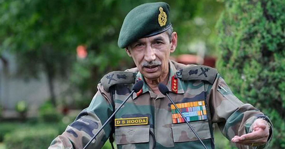File photo of DS Hooda, the former Commander of Northern Army, which carried out the surgical strikes in Pakistan in September 2016 after the Uri terror attack.