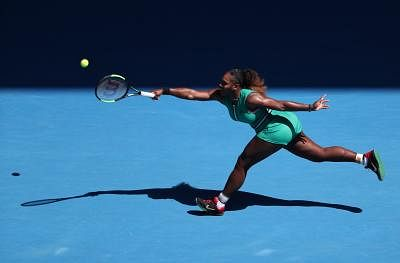 MELBOURNE, Jan. 23, 2019 (Xinhua) -- Serena Williams competes during the women