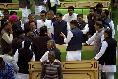 Jaipur: Rajasthan Deputy Chief Minister Sachin Pilot interacts with party leaders during the winter session of state legislative assembly in Jaipur, on Jan 17, 2019. (Photo: Ravi Shankar Vyas/IANS)