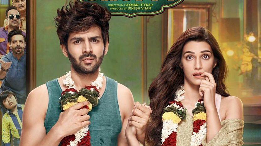 Kartik Aaryan-Kriti Sanon star in a poster of <i>Luka Chuppi</i>.&nbsp;