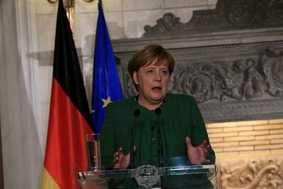 ATHENS, Jan. 10, 2019 (Xinhua) -- German Chancellor Angela Merkel speaks at a joint press conference with Greek Prime Minister Alexis Tsipras (not in the picture) in Athens, Greece, on Jan. 10, 2019. The European spirit has been strengthened through the management of common challenges and Europe will have a better future through cooperation and not nationalism, German Chancellor Angela Merkel said on Thursday at the start of a two-day visit to Athens. (Xinhua/Marios Lolos/IANS)